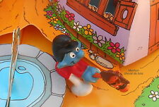 40214 schtroumpf sur cheval de bois schtroumpfette smurf puffo puffi pitufo H.K
