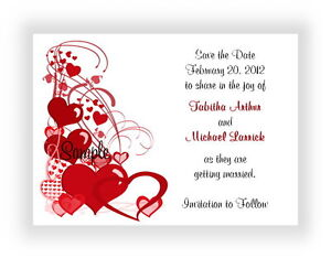 100 Personalized Custom Red Hearts Border Bridal Wedding Save The Date Cards