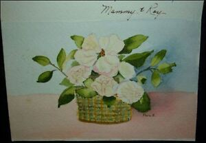 Vintage HAND PAINTED GREETING CARD 1980s DOGWOODS From Mom to her Son FRAME IT!