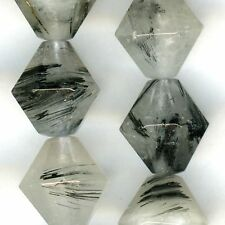 "BLACK TOURMALINATED QUARTZ 10mm Faceted Bicones 16"" strand"