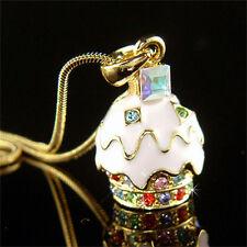 w Swarovski Crystal 3D ~Strawberry CUPCAKE~ Pendant Charm Gold Pl Girls Necklace
