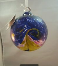 GIFTCRAFT FRIENDSHIP GLASS HAND BLOWN BALL CHRISTMAS ORNAMENT  PURPLE YELLOW
