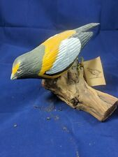 Wood Evening Grossbeak Bird Statue Hand-Carved + Numbered by Al McHenry, CA