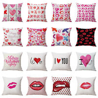 Red Lips Valentine's Day Soft Pillow Case Cushion Cover Throw Home Sofa Decor