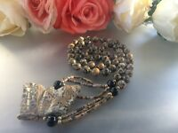 Vintage long and big Jasper Butterfly carved beads Necklace