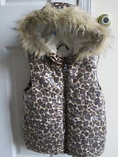 Children's Place sequin coat fur trim Cheetah fleece lined girls 7/8 hooded