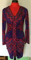HALE BOB BODYCON DRESS WOMENS SIZE S SMALL RUCHED PINK PURPLE *Y