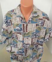ROYAL CREATIONS Aloha Button Down SEA TURTLES Hawaiian Shirt XL Made in Hawaii
