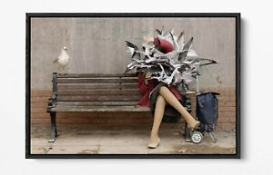 BANKSY SEAGULL ATTACK -DEEP FLOATER/FLOAT EFFECT FRAMED CANVAS WALL ART PRINT