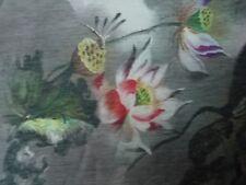 Seide Leinen -modernes Blütenmuster grau bunt Meterware -Große Motive