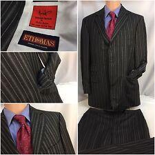 Bespoke E. Thomas Suit 44R Black Super 130s Surgeon Cuff 36x30 FF 44 R YGI RE334