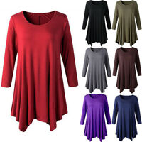 Womens Plus Size 3/4 Sleeve Tunic Tops Casual Crew Neck Comfy Loose Basic Shirt