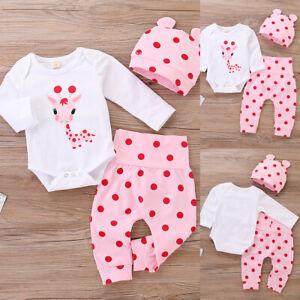 Infant Newborn Kids Baby Girls Cute Giraffe Polka Dot 3 Pcs Outfits Set Clothes
