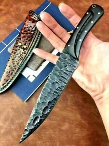Premium Drop Point Knife Hunting Combat Tactical Survival Carbon Steel Full Tang