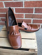 Sesto Meucci Brown Leather Women's Loafers Shoes Square Toe with Tassel 9 C