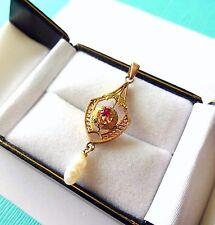Antique Victorian 10kt Gold & Ruby Laveliere Pendant