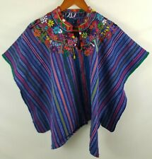 Vintage Embroidered Afghan Poncho Shawl Coat Cape Colorful Handmade