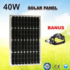 40W 12V Portable Solar Panel Monocrystalline Cells Home Camping+LED Headlight