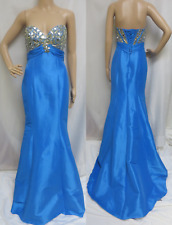 $350 NIGHT MOVES Blue Beaded Pageant Prom Princess Formal Gown Dress w/ Train 6