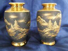 "Japanese Satsuma Matt Black & Gold Vases 5"""