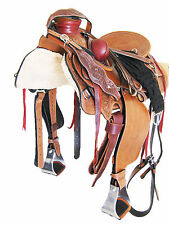 "WADE ROPER RANCH SADDLE SET 'THSL' CARVED TAN 16"" HARD SEAT (WLI_006)"