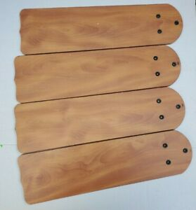 """Set of 4 Four Brown Replacement Ceiling 21"""" Fan Blades Wood Parts 291"""