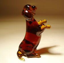 """Blown Glass """"Murano"""" Art Figurine Wiener Dog DACHSHUND Sitting"""