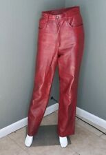 Vintage Croc Embossed Red Leather Pleated Pants Sz 5/6 Retro