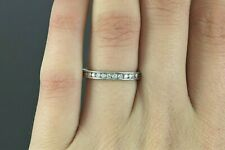 $1,950 Platinum Round Diamond Channel Set Wedding Band Anniversary Ring Size 7