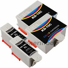 4 Pack (2 Bk/2 Color) #10 Ink Cartridges For Kodak 10B 10C ESP 3250 5210 5250
