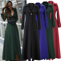 Women Full-Length Winderbreaker Wool Blend Jacket Slim Fit Long Trench Coat UK