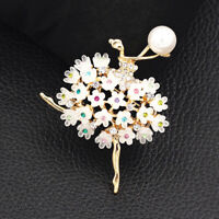 Women's Resin Crystal Flower Ballerina Girl Charm Betsey Johnson Brooch Pin