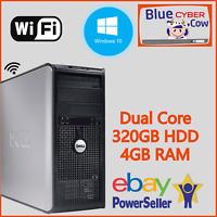 Cheap Fast Windows 10 HP DELL DUAL CORE PC Computer 4GB RAM 320GB HDD WiFi