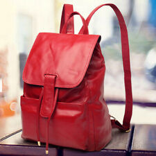 Genuine Leather Women's Drawstring Backpack Retro Outdoor Travel Rucksack Red