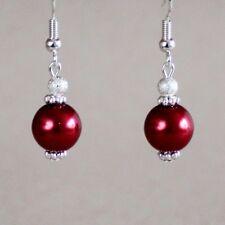 Dark wine red pearls silver dangle earrings wedding bridesmaid bridal accessory