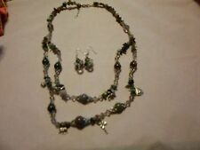 """Indian Agate, Glass Bead Earrings & Necklace 24"""" in Silvertone & Stainless-60CTW"""