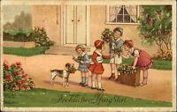 Feldpostkarte 2. Weltkrieg mit Briefstempel auf Pfingsten Gruss-AK Kinder Hund