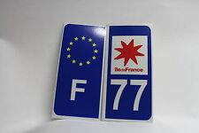 2 stickers REFLECHISSANT département 77+F