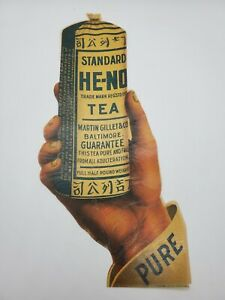 Antique HE NO Tea Country Store Litho Sign Decal Coshocton OH Rare Advertising