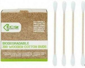 400 Wooden Cotton Bud Eco Friendly Ear Double Ended Makeup Applicator Biodegrade