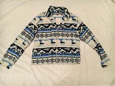 Mountain Lake Fleece Zipper Jacket Coat Polar Bear Snowflake Christmas Aztec L