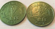 1987 A Tribute To The Arts 2 Mardi Gras Alum Vintage Doubloon Coins Green
