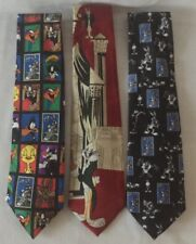 Lot of 3 Vintage Novelty Neckties - Looney Tunes Stamp Collection 1997