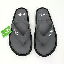 Sanuk Mens Size 7 Gray Black Sidewalker Flip Flops Sandals Waterproof 1095551