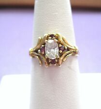 LQQK Gorgeous Vintage Ring 10K Yellow Gold with Rubies sz 6.75 Ladies Must See!