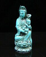 Collectible Old Decorated Turquoise Kwan-yin RUYI Guan yin SONG ZI Statue Buddha
