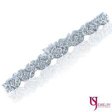 "0.96 Carat Womens Luxurious Genuine Diamond XO Link Bracelet 14k White Gold 7"""
