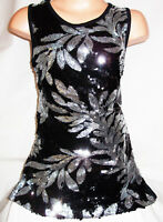GIRLS 60s SPARKLY BLACK SEQUIN SILVER FLORAL PATTERN DISCO DANCE PARTY DRESS TOP