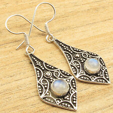 Retro Fashion Co Uk ! Real RAINBOW MOONSTONE Earrings 1.9 Inch 925 Silver Plated