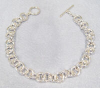 "Sterling Silver Heavy Rolo Chain Toggle Bracelet 20.4 grams Size 7.5"" NEW"